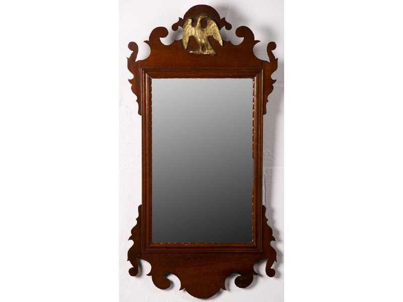 12: Chippendale 19C Antique Gilt Eagle Mahogany  Mirror