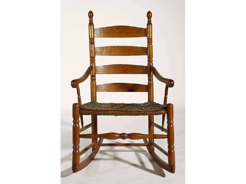 18: Maple 19th Century Ladder Back Rocking Arm Chair