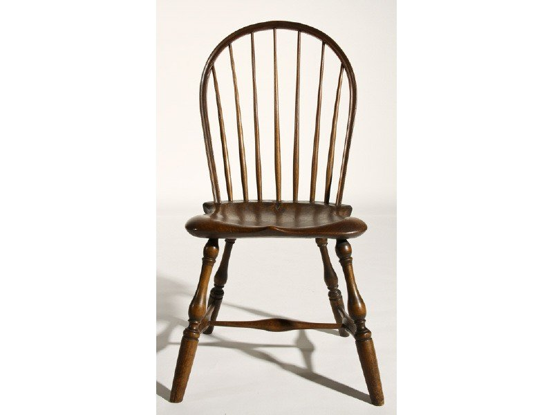 24: Windsor 19th C. Seven Spindle Bow Back Side Chair