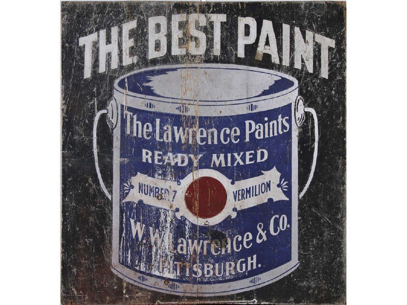 27: Old Lawrence Paint 1940's Wood enAdvertising Sign