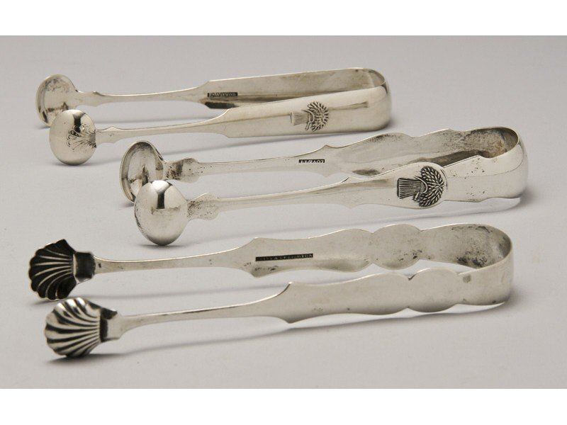 38: Signed American 1830 Coin Silver Sugar Tongs (3)