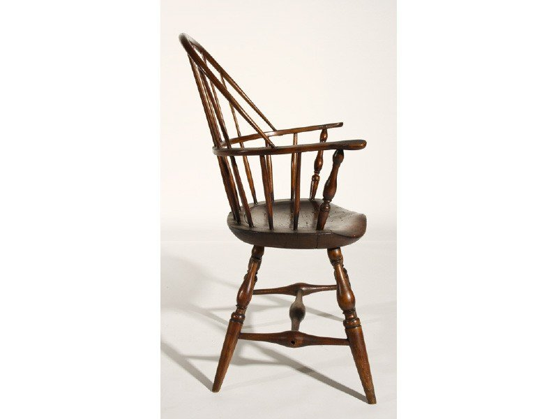 40: Maple 19th Century Pine Windsor Sack Back Arm Chair