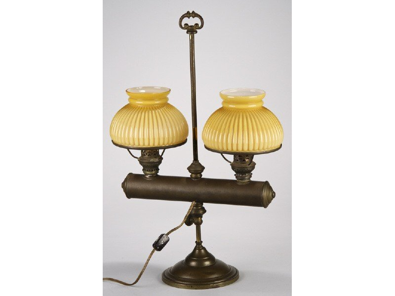 43: Double Brass 19C Student Lamp with Yellow Shades