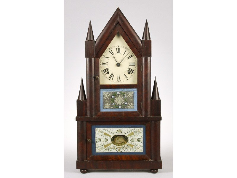 46: Mahogany 19C Double Steeple Clock Reverse Painted