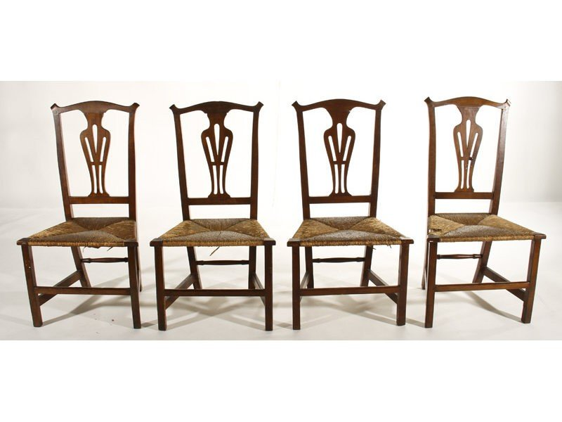 48: Set of Four 19th C. Chippendale Maple Side Chairs