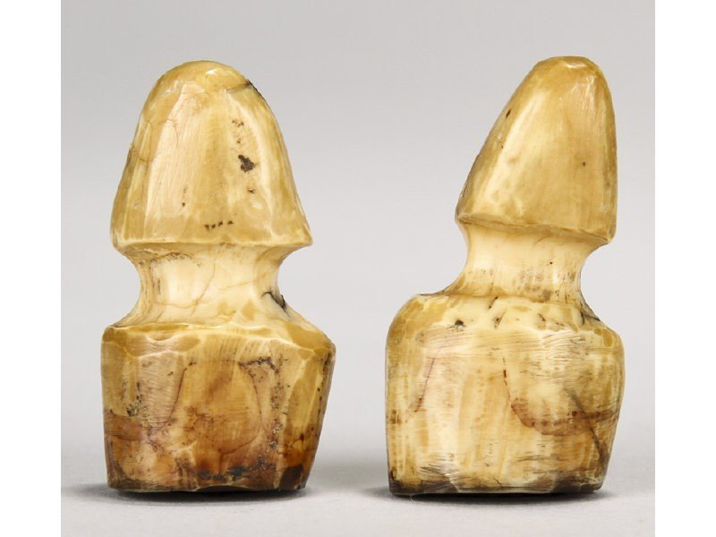 Two carved antique c whale bone ship log stamps