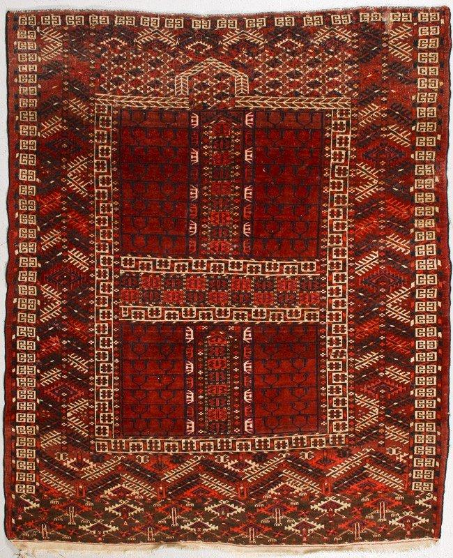 51: Turkish Semi Antique Ensi Salor Oriental Rug 5'x4'