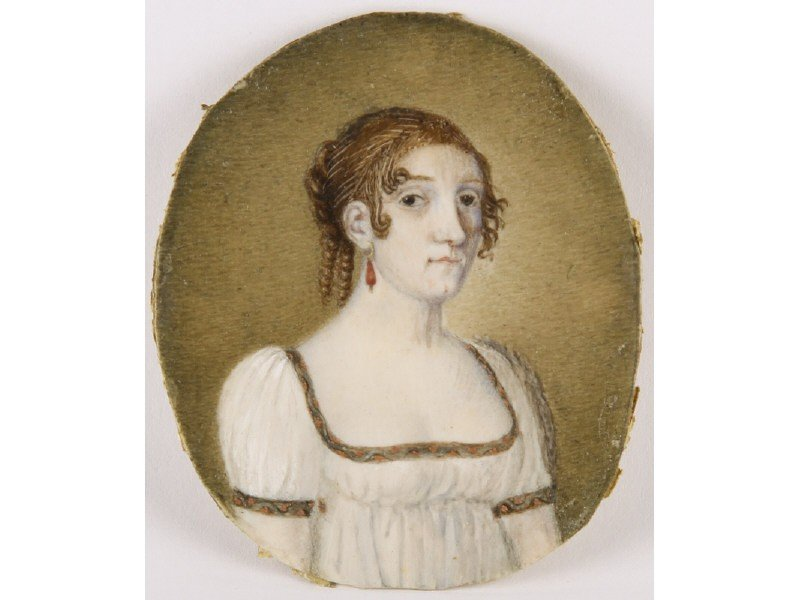 52: Portrait Miniature 19C Oil Painting on Ivory Woman