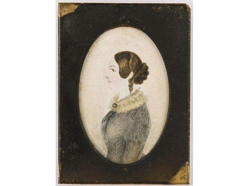 53: Miniature 19C Watercolor Woman Lace Collar