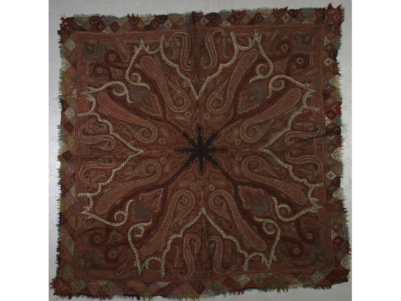 55: Antique 19C Handmade Kashmir Paisley Shawl Textile
