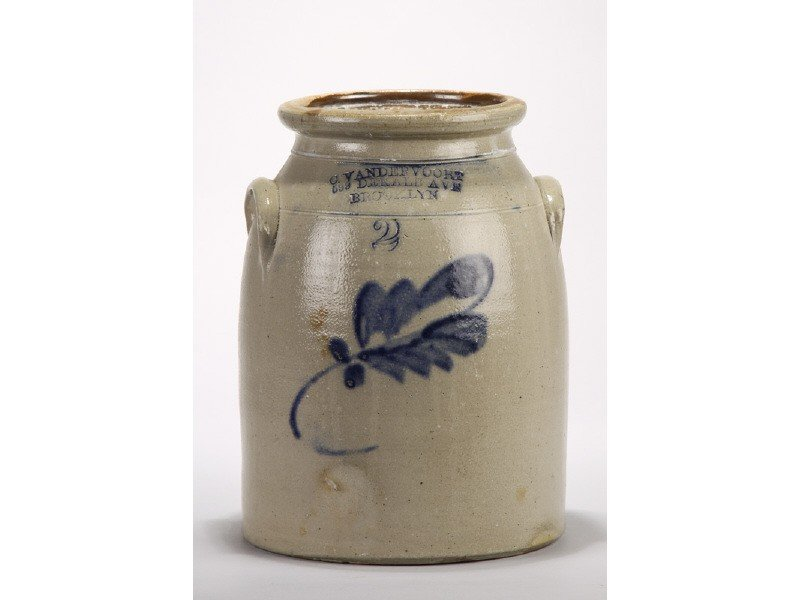 56: Vandervoort 19C Blue Wash Leaf Decorated Crock