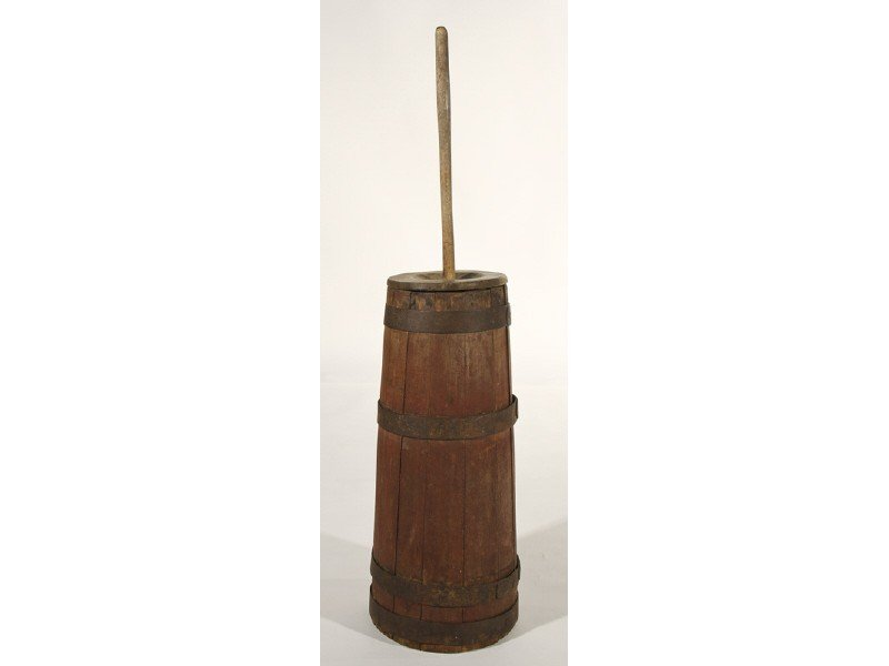 60: Painted Red 19C Butter Churn & Dasher  Wood Iron