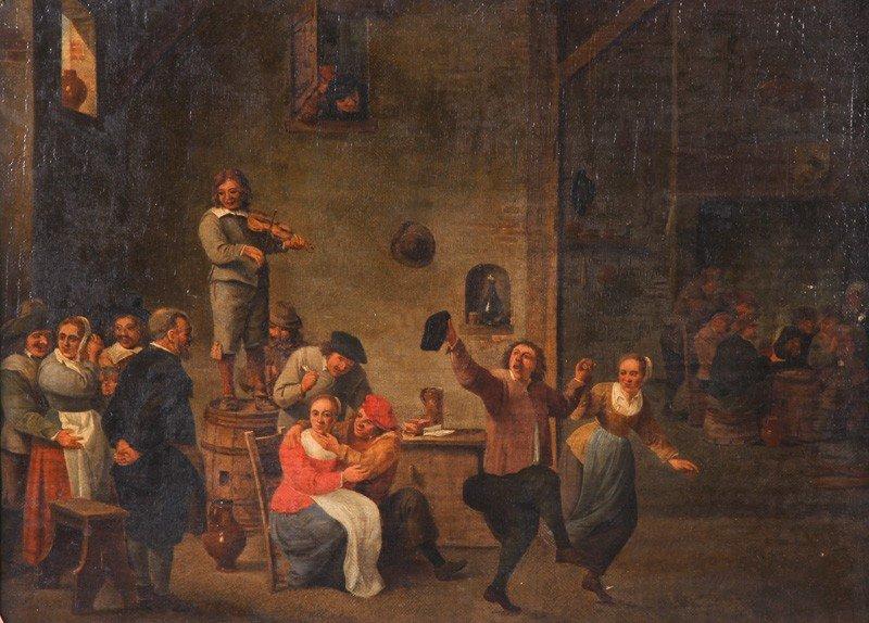 62: Old Master Painting aft David Teniers Tavern Scene