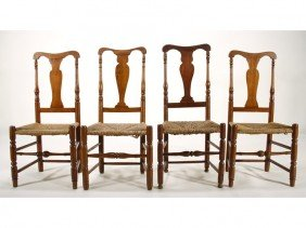 Assembled Set Of Four 19C Maple QA Side Chairs