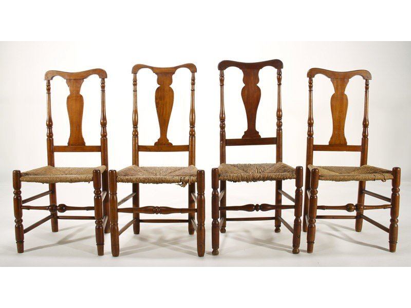 65: Assembled Set of Four 19C Maple QA Side Chairs