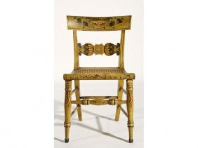 Federal 19C Yellow Decorated Fancy Chair Cane Seat