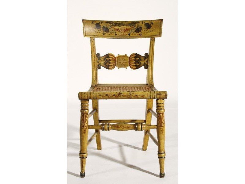 74: Federal 19C Yellow Decorated Fancy Chair Cane Seat