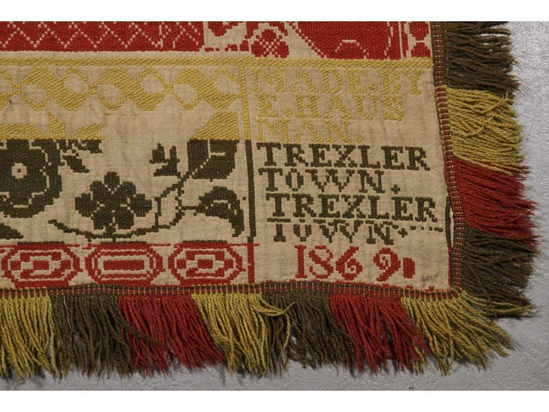 78: Dated 1869 Trexler Town. PA 19C Jacquard Coverlet