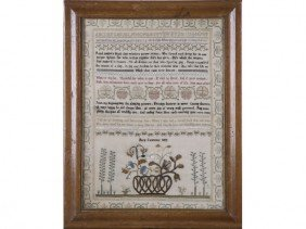 Mary Lawrence 1809 American Verse Sampler Textile