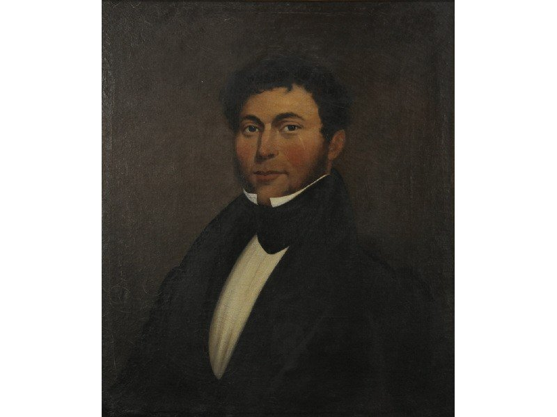 80: Oil Painting 19C Portrait of Gentleman - Gold Frame