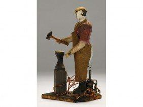 Folk Art Toy Homemade Blacksmith And Anvil