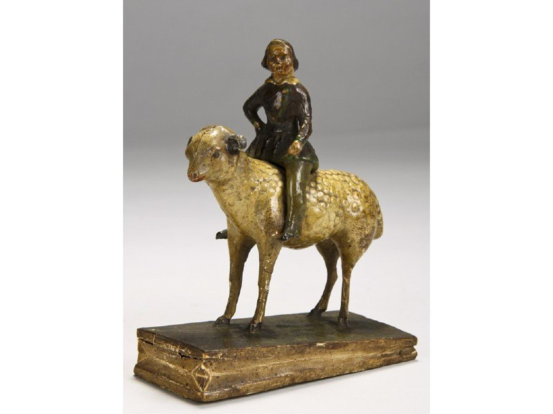 83: Papier Mache 1855 Girl on Lamb Squeak Toy