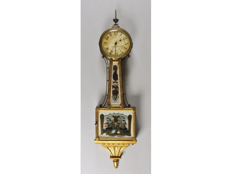 84: Gilt 19th C Banjo Clock Reverse Tablet Willard Type