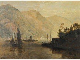 Thomas Benjamin Pope Sidewheeler Harbor Painting