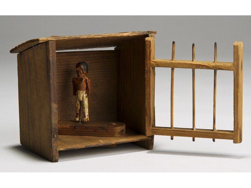 90: Folk Art Carved 19C Wood Native American in Jail