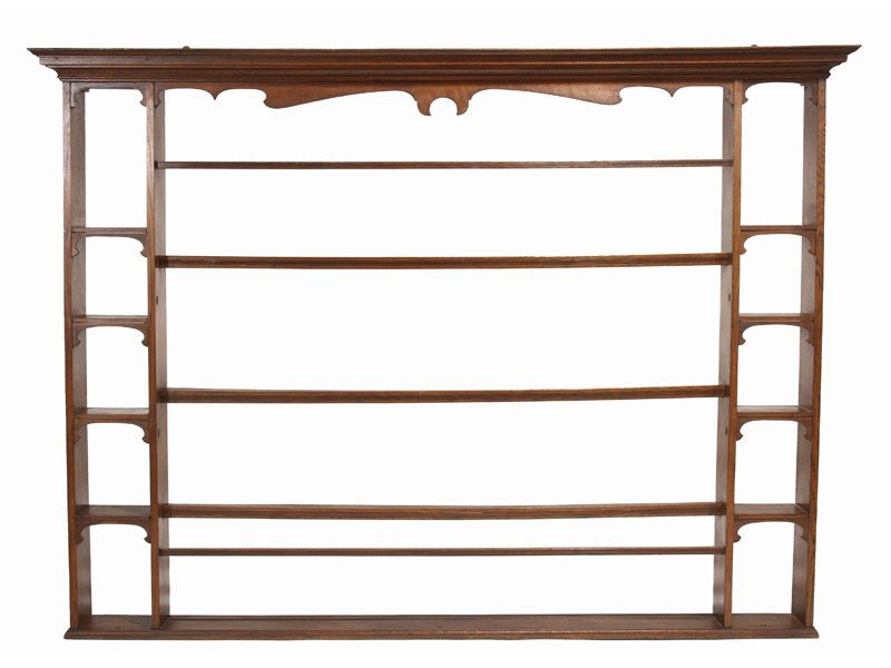 92: English Oak 19th C.  Plate Rack or Porringer Shelf
