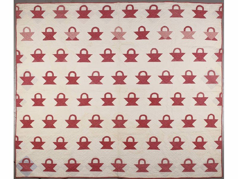 98: Antique Red &White 19th Century Calico Basket Quilt