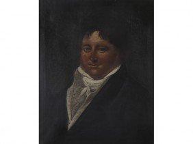 Antique 19C Portrait Of A Gentleman Oil Painting