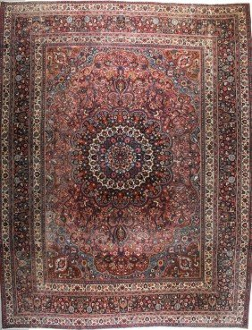 "Signed Inscription Persian Carpet 14'10""  X 10'5"""