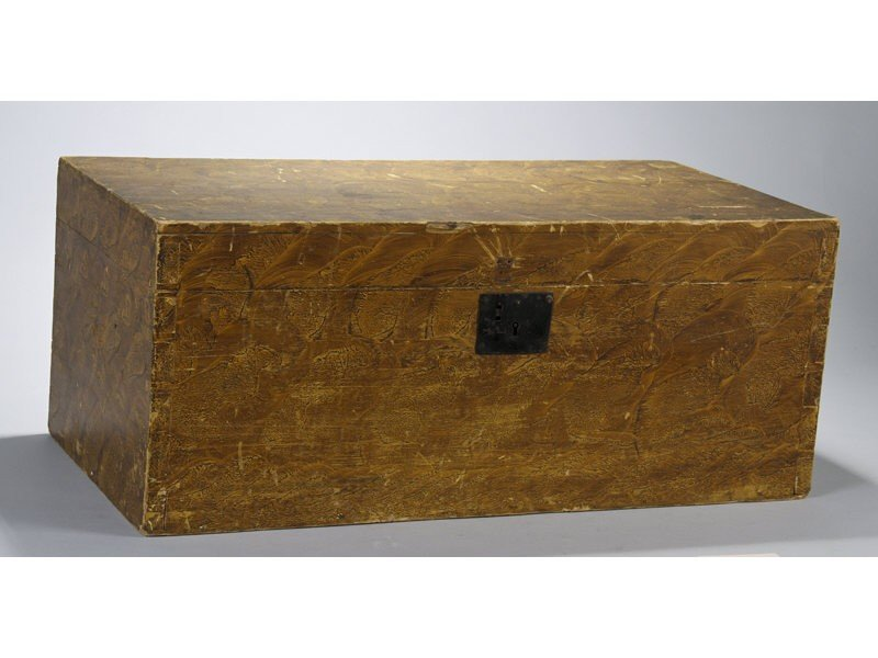 120: New England 19C Vinegar Decorated Storage Box