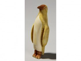 Carved Inuit Indian - Painted Whale Bone Penguin
