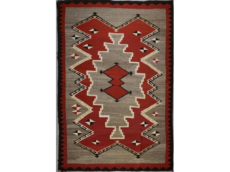 126: Old 1930s Navajo Native American Indian Rug  6 x 4