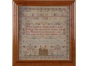 Ann Ginger 1820 Alphabet  Verse House Sampler