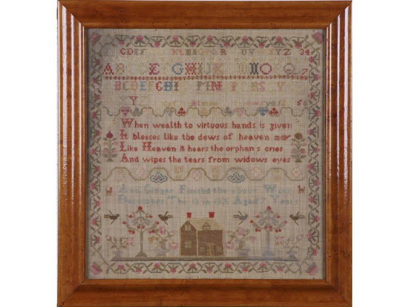127: Ann Ginger 1820 Alphabet  Verse House Sampler