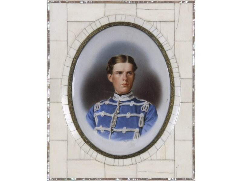 131: West Point Graduate 19C Oil on Porcelain Plaque