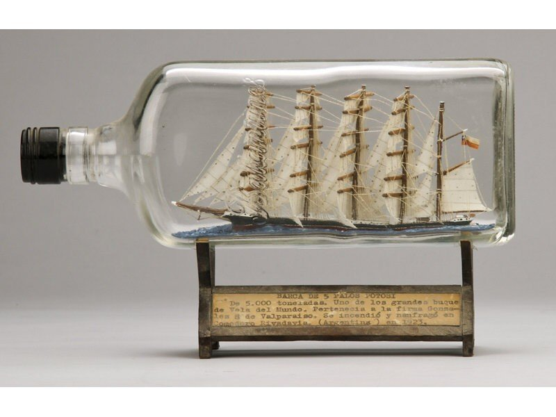 134: Antique 1923 Glass Five Masted Ship in a Bottle