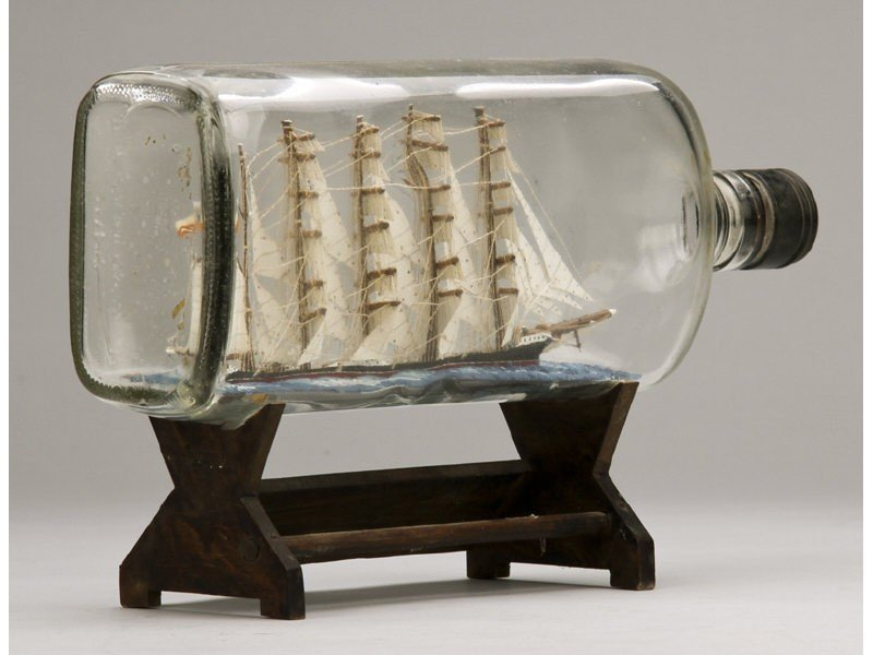 134: Antique 1923 Glass Five Masted Ship in a Bottle - 2