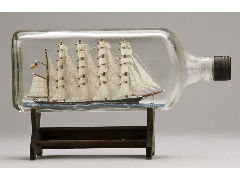 134: Antique 1923 Glass Five Masted Ship in a Bottle - 3