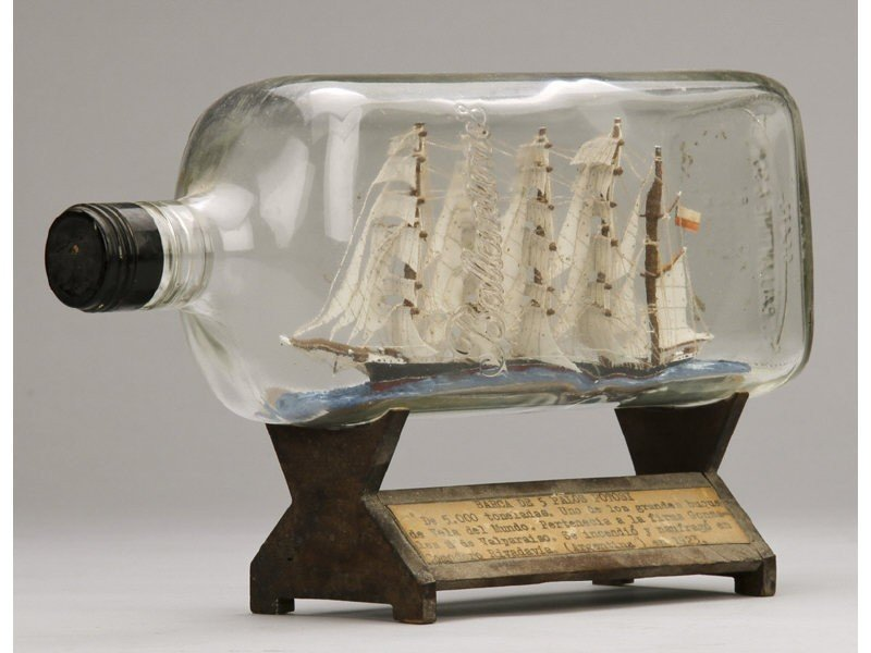 134: Antique 1923 Glass Five Masted Ship in a Bottle - 4