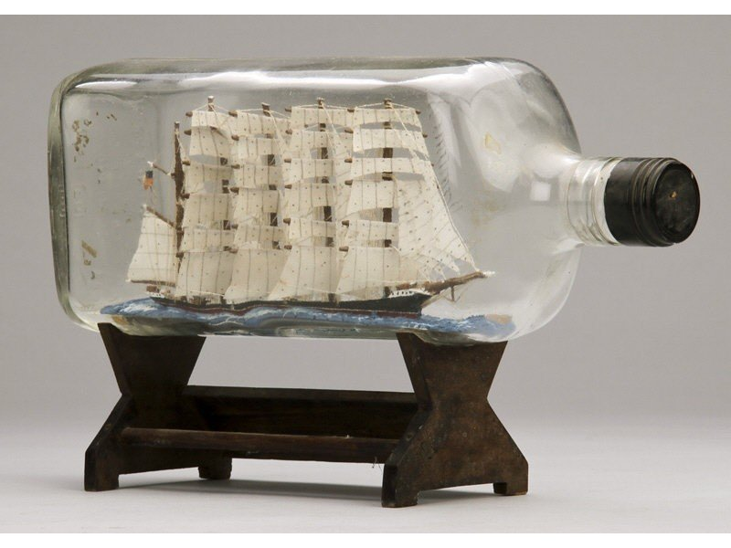 134: Antique 1923 Glass Five Masted Ship in a Bottle - 5