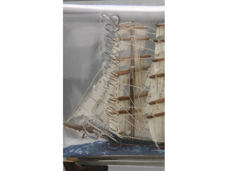 134: Antique 1923 Glass Five Masted Ship in a Bottle - 7