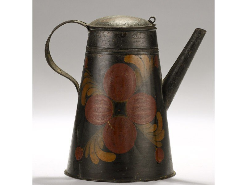 143: Paint Decorated Pomegranate 19C Tole Coffee Pot