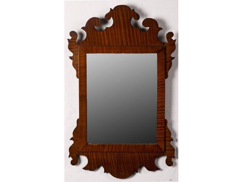146: Chippendale Style Tiger Maple Scrolled Mirror