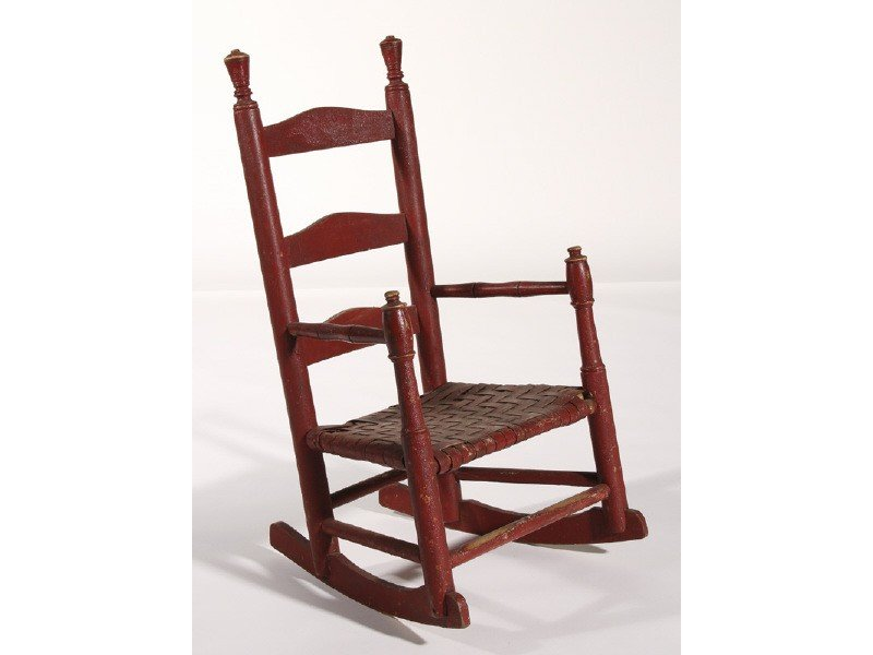 147: Red Ladder Back 1920 Childs Rocking Chair