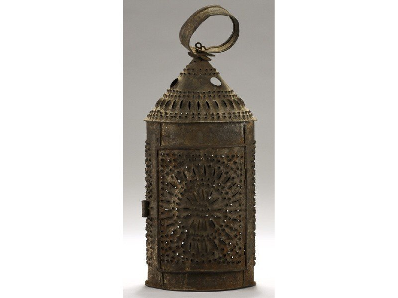 """150: Early 19C Tin Punched 14"""" Antique Candle Lantern"""