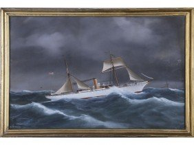 Antonio DeSimone 19C Ship Columbia N.Y. Painting